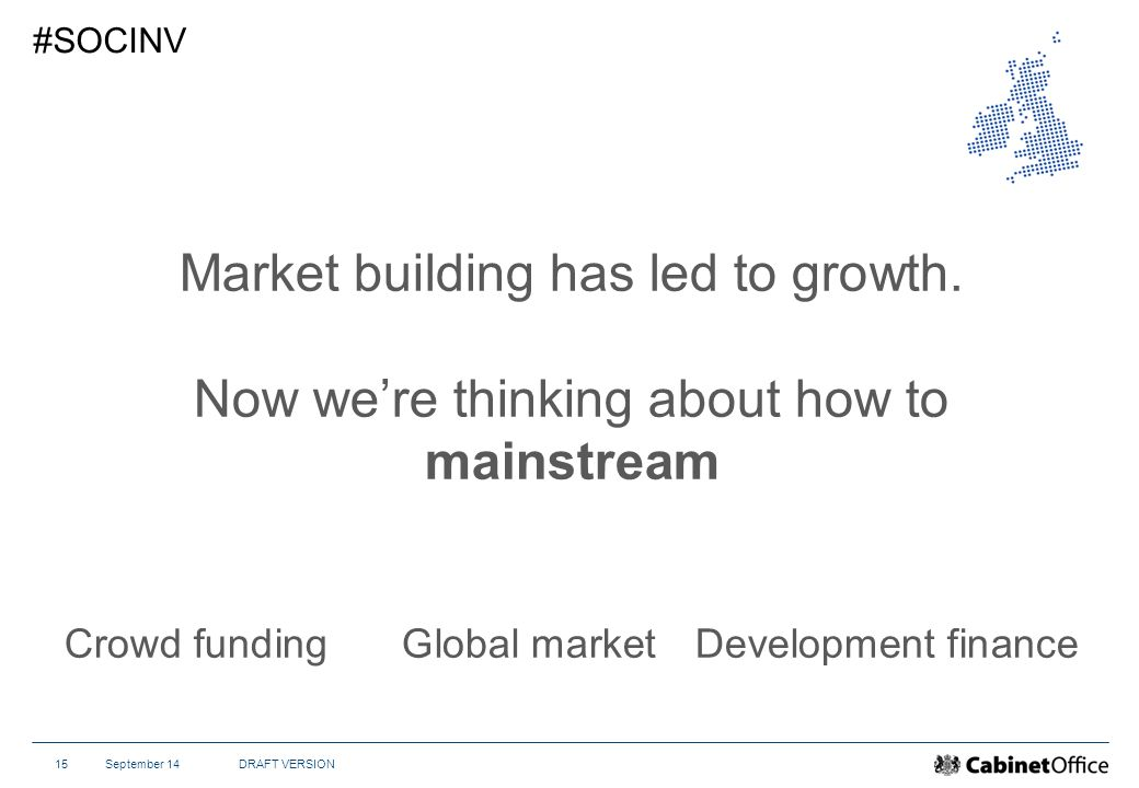 September 14DRAFT VERSION15 #SOCINV Market building has led to growth.