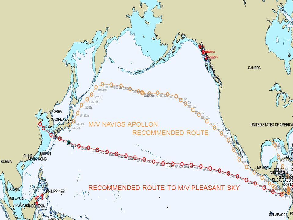 M/V NAVIOS APOLLON RECOMMENDED ROUTE RECOMMENDED ROUTE TO M/V PLEASANT SKY
