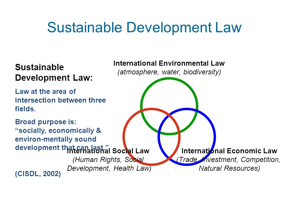 International Environmental Law (atmosphere, water, biodiversity) International Economic Law (Trade, Investment, Competition, Natural Resources) International Social Law (Human Rights, Social Development, Health Law) Sustainable Development Law: Law at the area of intersection between three fields.