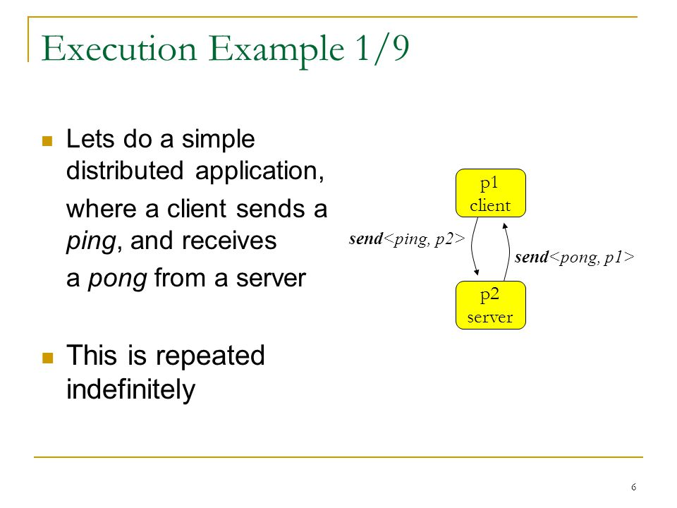 6 Execution Example 1/9 Lets do a simple distributed application, where a client sends a ping, and receives a pong from a server This is repeated indefinitely p2 server p1 client send