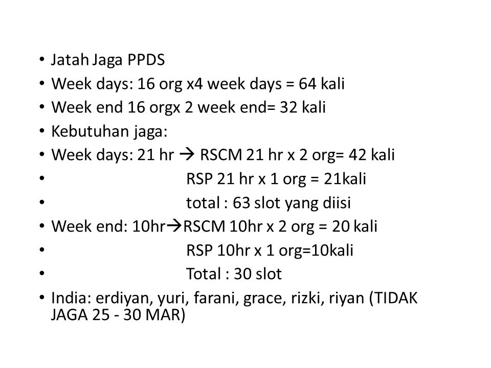 Jatah Jaga PPDS Week days: 16 org x4 week days = 64 kali Week end 16 orgx 2 week end= 32 kali Kebutuhan jaga: Week days: 21 hr  RSCM 21 hr x 2 org= 42 kali RSP 21 hr x 1 org = 21kali total : 63 slot yang diisi Week end: 10hr  RSCM 10hr x 2 org = 20 kali RSP 10hr x 1 org=10kali Total : 30 slot India: erdiyan, yuri, farani, grace, rizki, riyan (TIDAK JAGA 25 - 30 MAR)