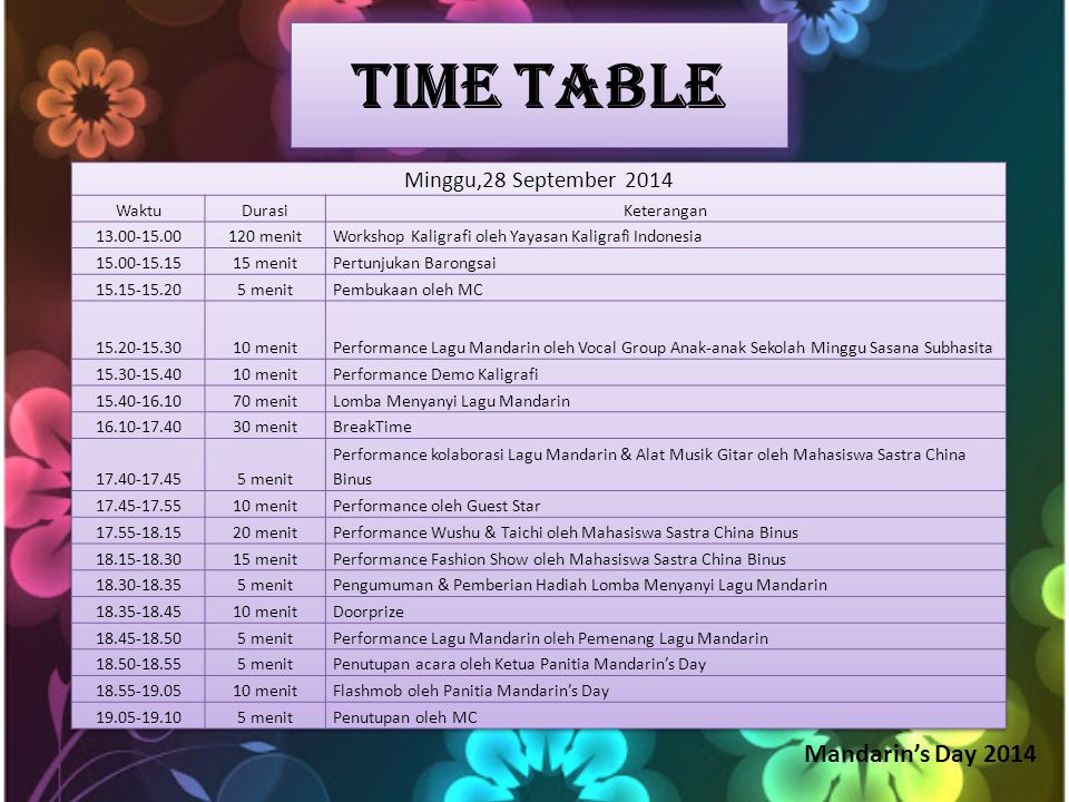 Mandarin's Day 2014 Time Table