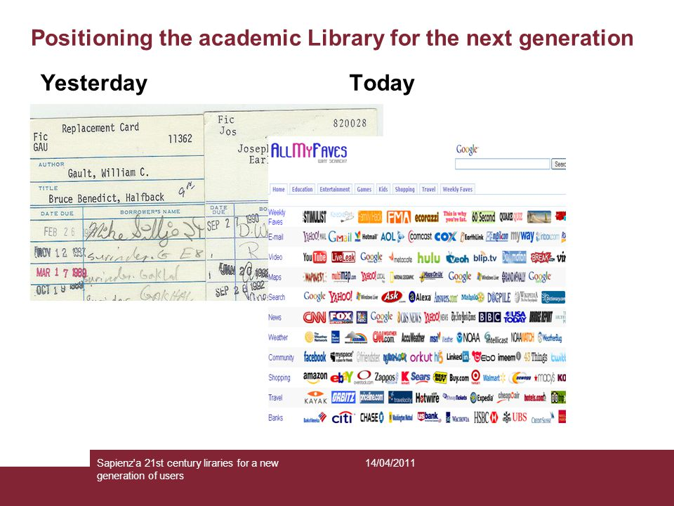 Positioning the academic Library for the next generation Yesterday Today 14/04/2011Sapienz a 21st century liraries for a new generation of users