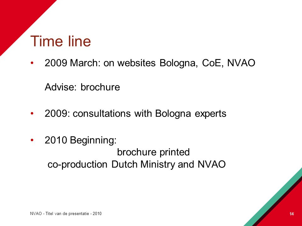 NVAO - Titel van de presentatie - 2010 14 Time line 2009 March: on websites Bologna, CoE, NVAO Advise: brochure 2009: consultations with Bologna experts 2010 Beginning: brochure printed co-production Dutch Ministry and NVAO 14