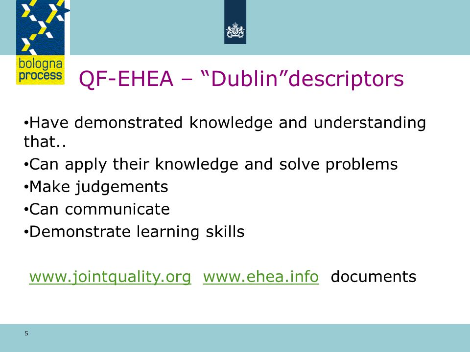 5 QF-EHEA – Dublin descriptors Have demonstrated knowledge and understanding that..
