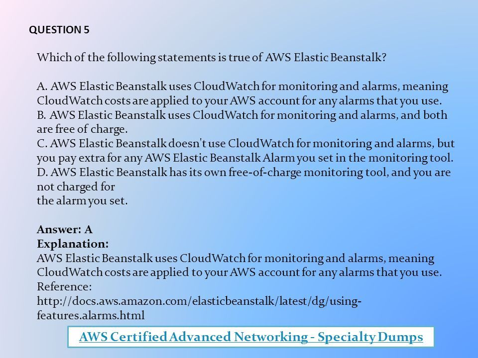 AWS Certified Advanced Networking - Specialty Dumps PDF
