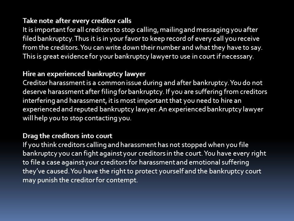 How To Stop Creditor Harassment After Bankruptcy Ppt Download