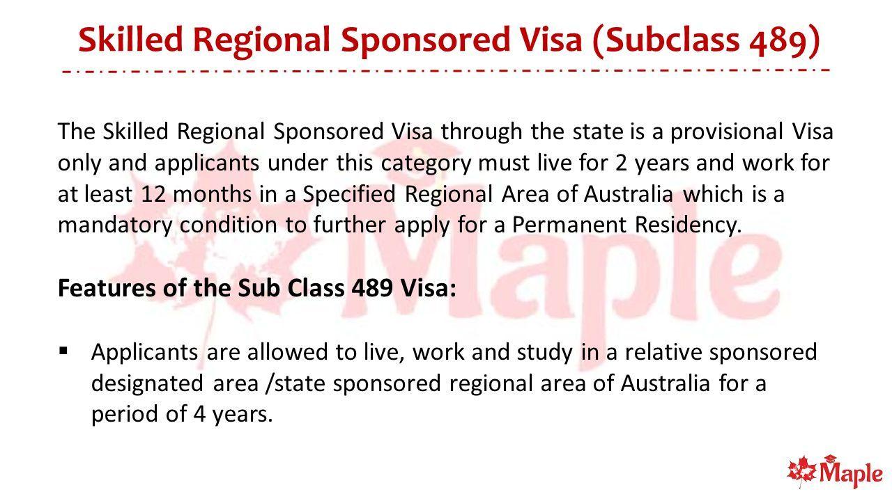 Migrate to Australia Skilled Regional Sponsored Visa (Subclass 489