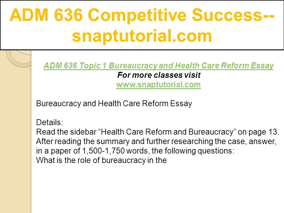 Adm  Competitive Success Snaptutorialcom  Ppt Download Adm  Competitive Success Snaptutorialcom Adm  Topic  Bureaucracy  And Health