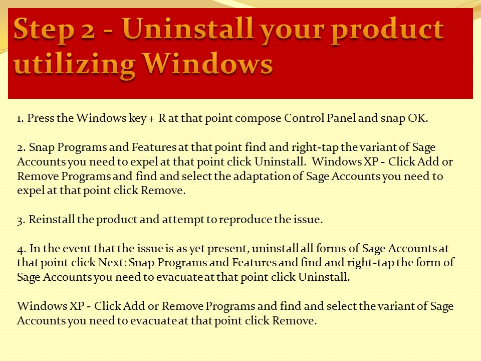 How to uninstall the sage software using Windows - For more