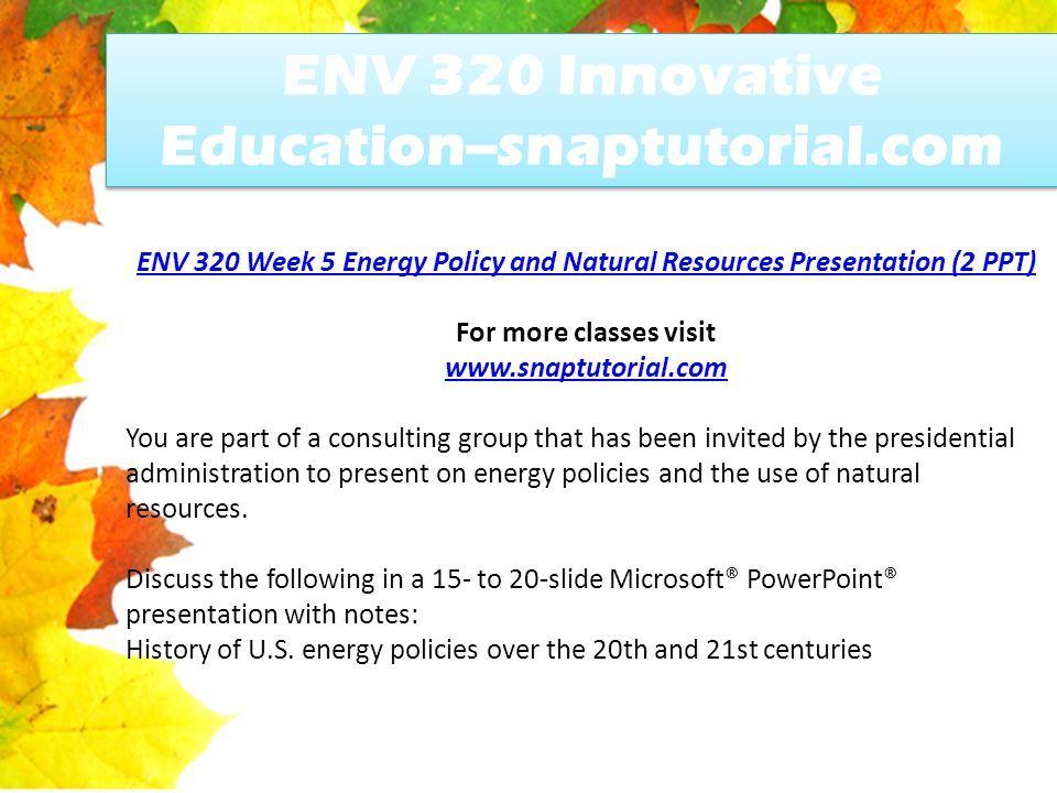 env 320 innovative education snaptutorial com ppt download