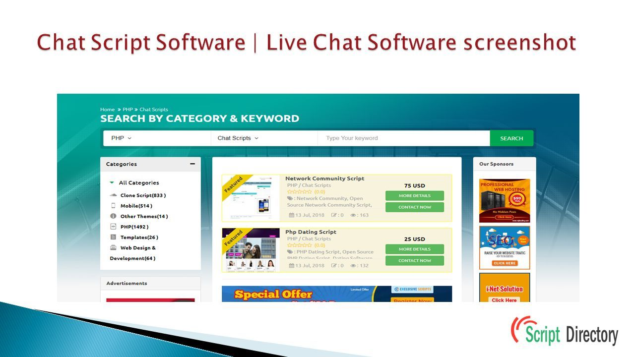 PHP Chat Script | Live Chat php Script from PHP script directory
