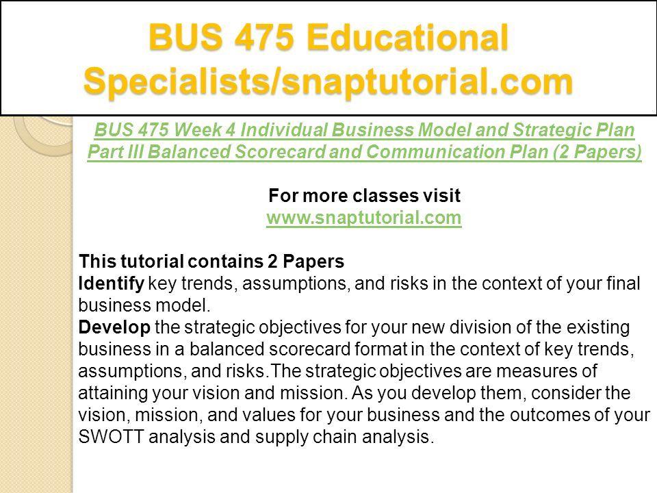 strategic plan part iii balanced scorecard and communication plan