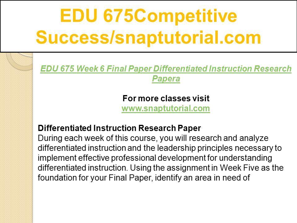 Edu 675competitive Successsnaptutorial Ppt Download
