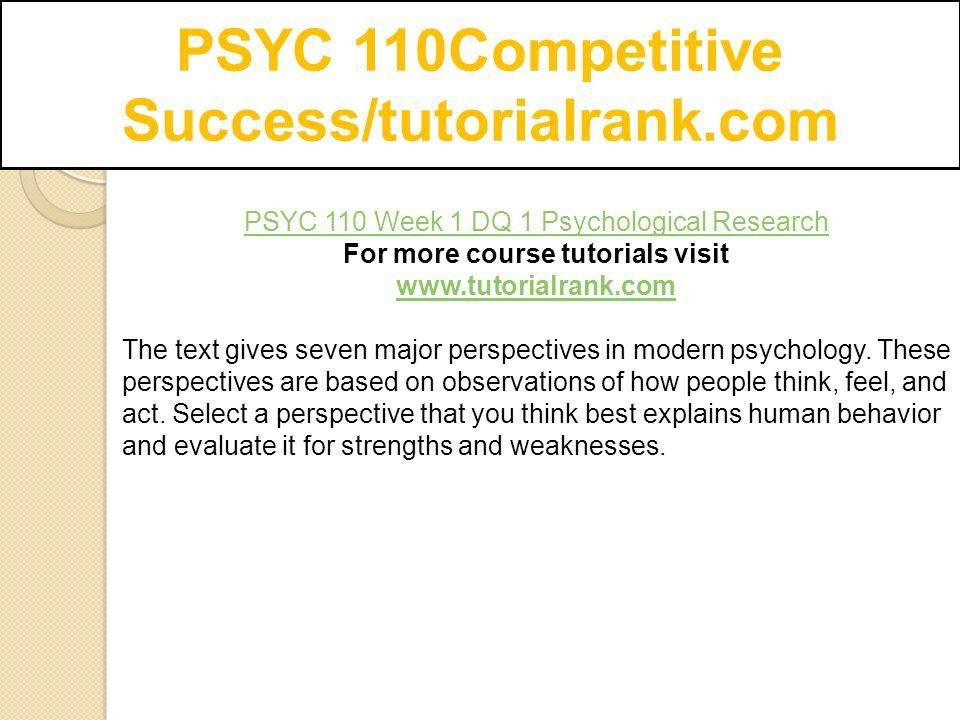 seven major perspectives in modern psychology