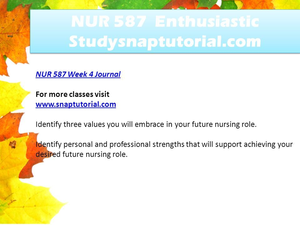 Identify personal and professional strengths that will support achieving your desired future nursing