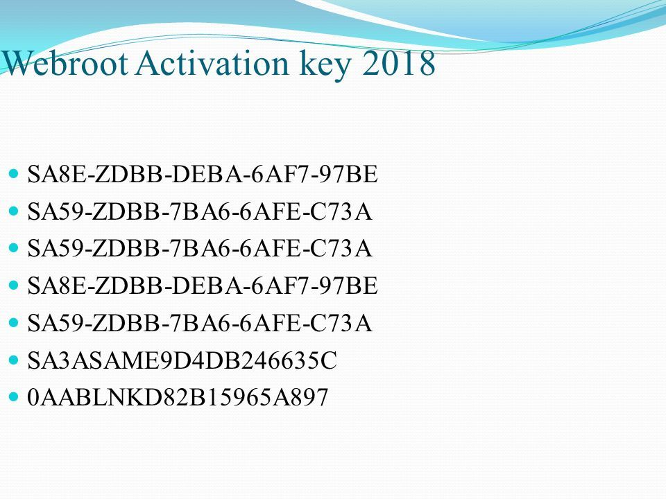 USA Free Activation Serial Key 2018 For Webroot Secureanywhere