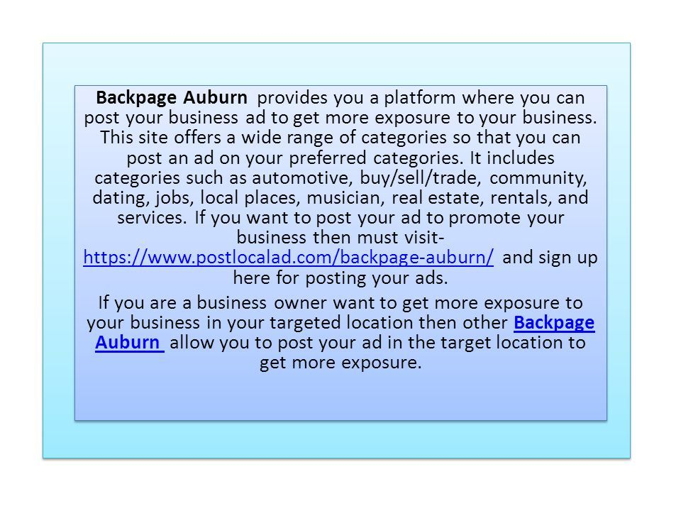 Backpage auburn