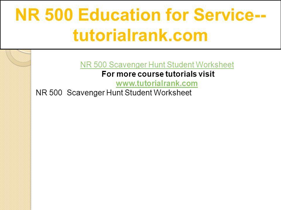 Nr 500 Education For Service Tutorialrank Com Nr 500 Scavenger