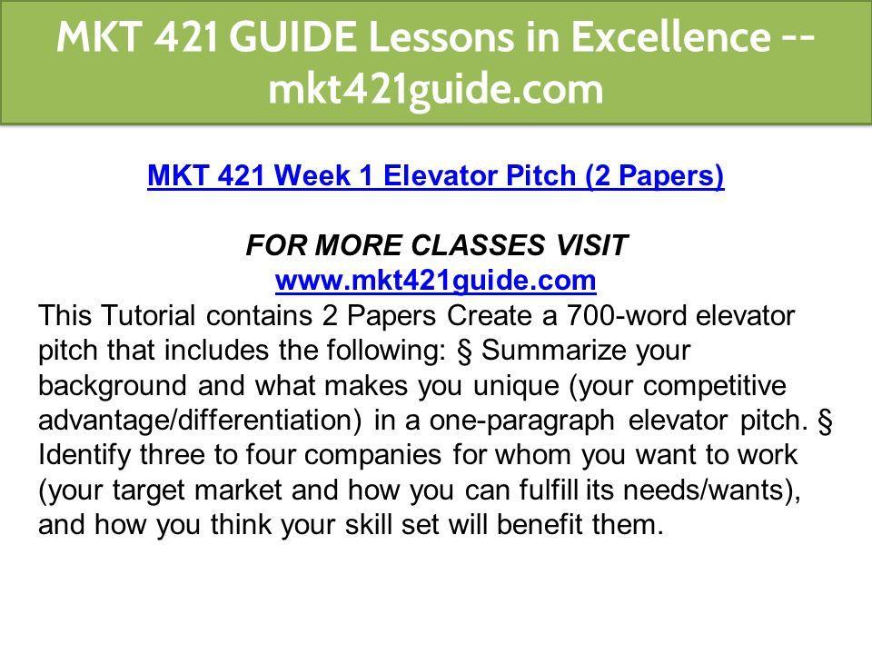 mkt 421 elevator pitch