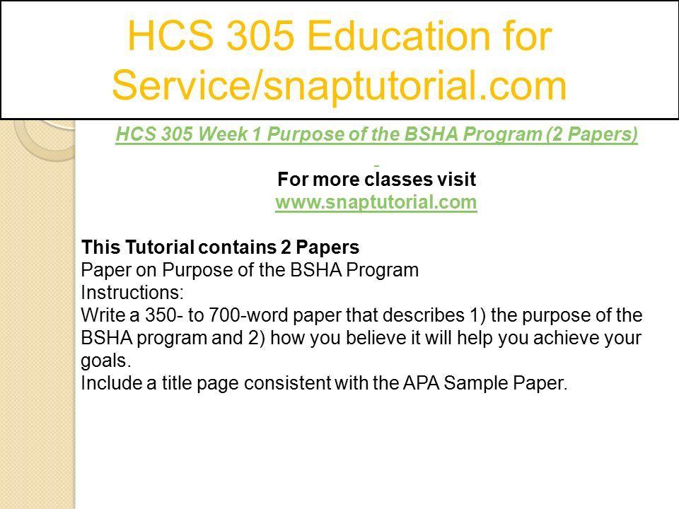 HCS 305 Education for Service/snaptutorial com - ppt download