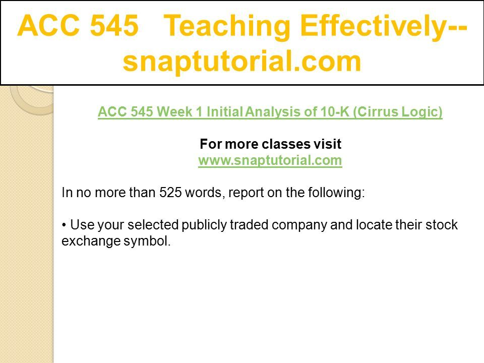 Acc 545 Teaching Effectively Snaptutorial Ppt Download