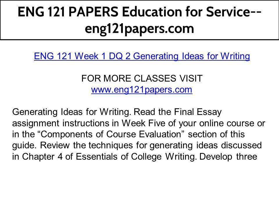 eng 121 week 1 assignment