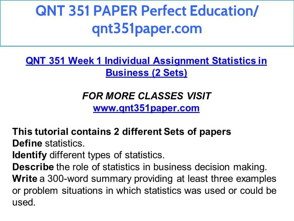 qnt 351 statistics in business