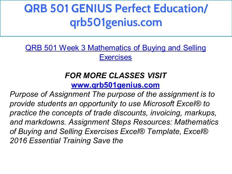 QRB 501 GENIUS Perfect Education/ qrb501genius com  - ppt download