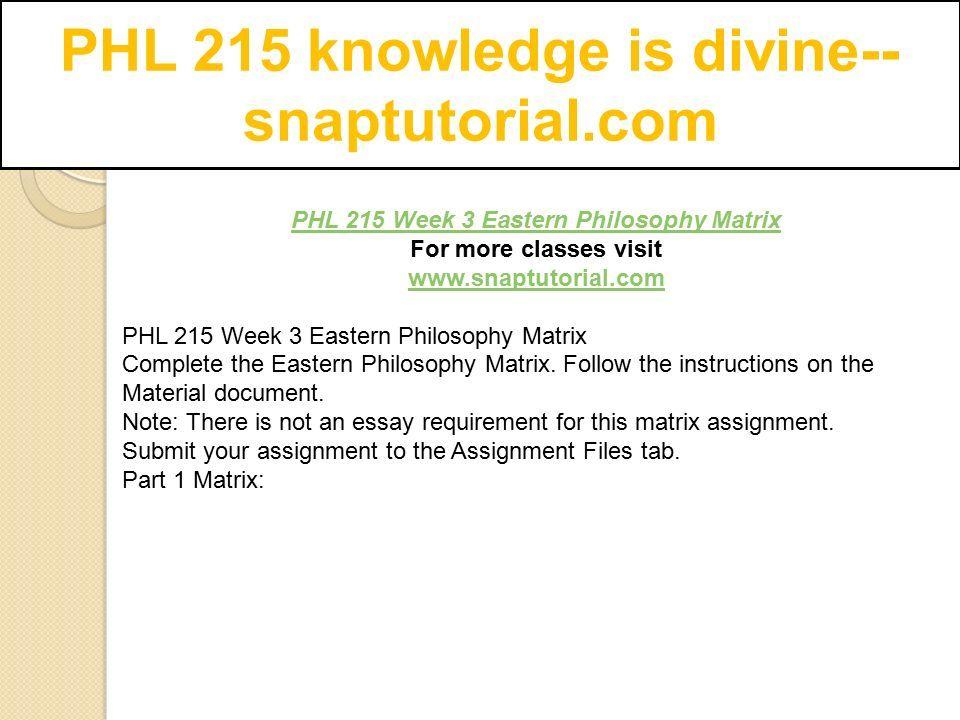 phl/215 epistemology matrix and essay