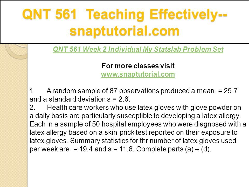 QNT 561 Teaching Effectively Ppt Download