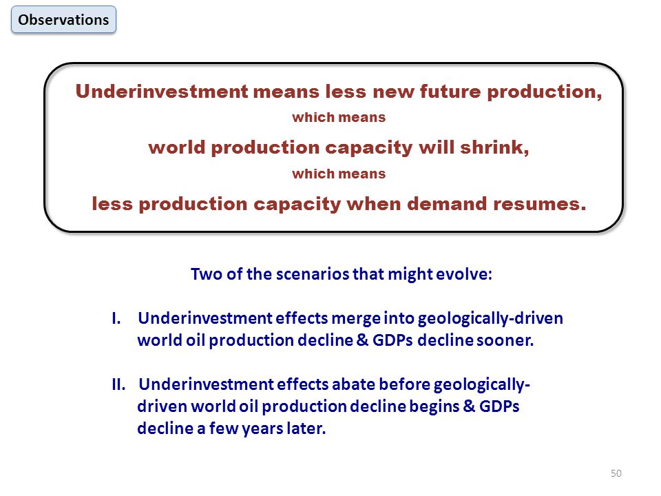 Underinvestment means less new future production, which means world production capacity will shrink, which means less production capacity when demand resumes.