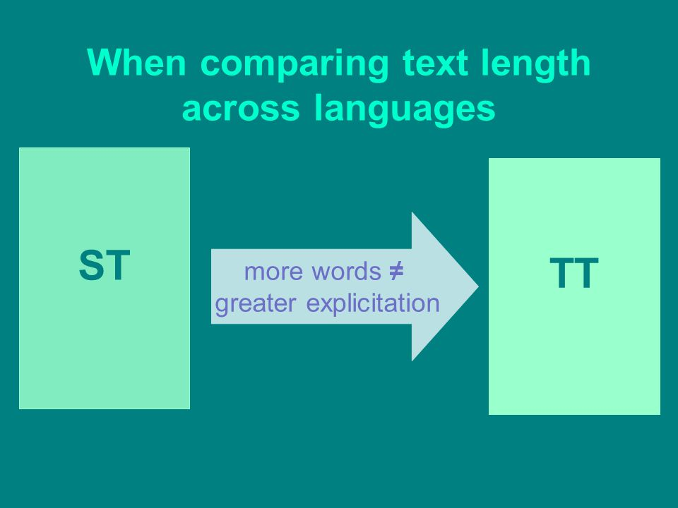 When comparing text length across languages ST TT more words ≠ greater explicitation