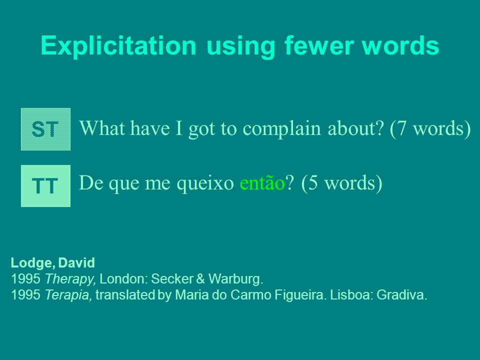 Explicitation using fewer words What have I got to complain about.