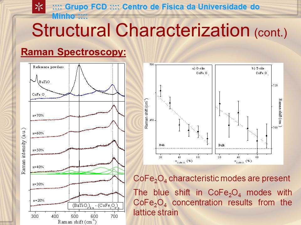 Structural Characterization (cont.) Raman Spectroscopy: CoFe 2 O 4 characteristic modes are present :::: Grupo FCD :::: Centro de Física da Universidade do Minho :::: The blue shift in CoFe 2 O 4 modes with CoFe 2 O 4 concentration results from the lattice strain