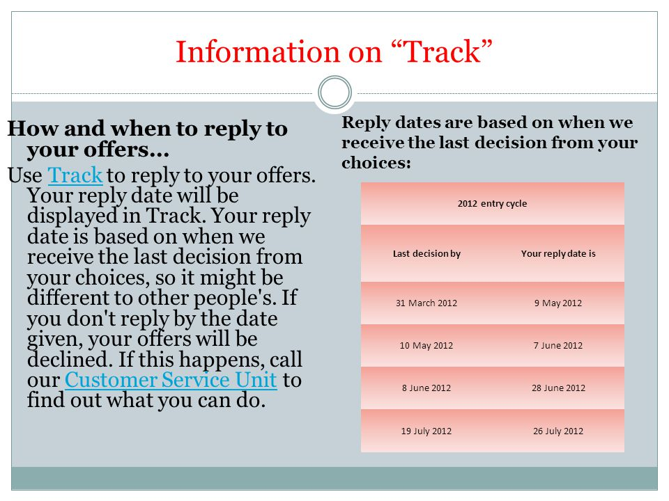 Information on Track How and when to reply to your offers...