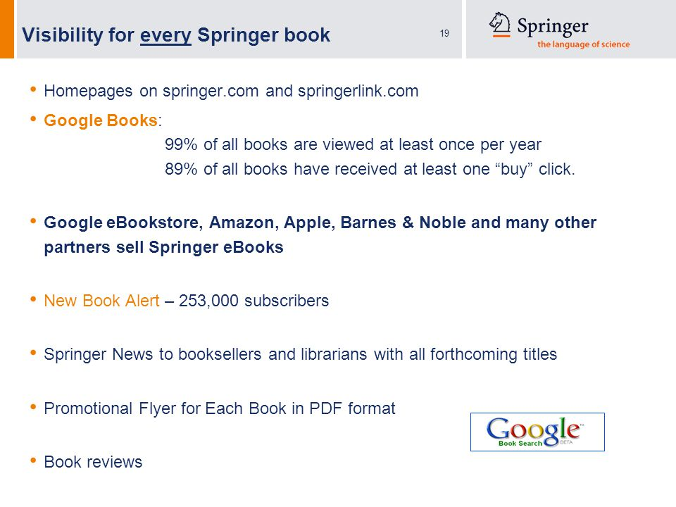 19 Visibility for every Springer book Homepages on springer.com and springerlink.com Google Books: 99% of all books are viewed at least once per year 89% of all books have received at least one buy click.
