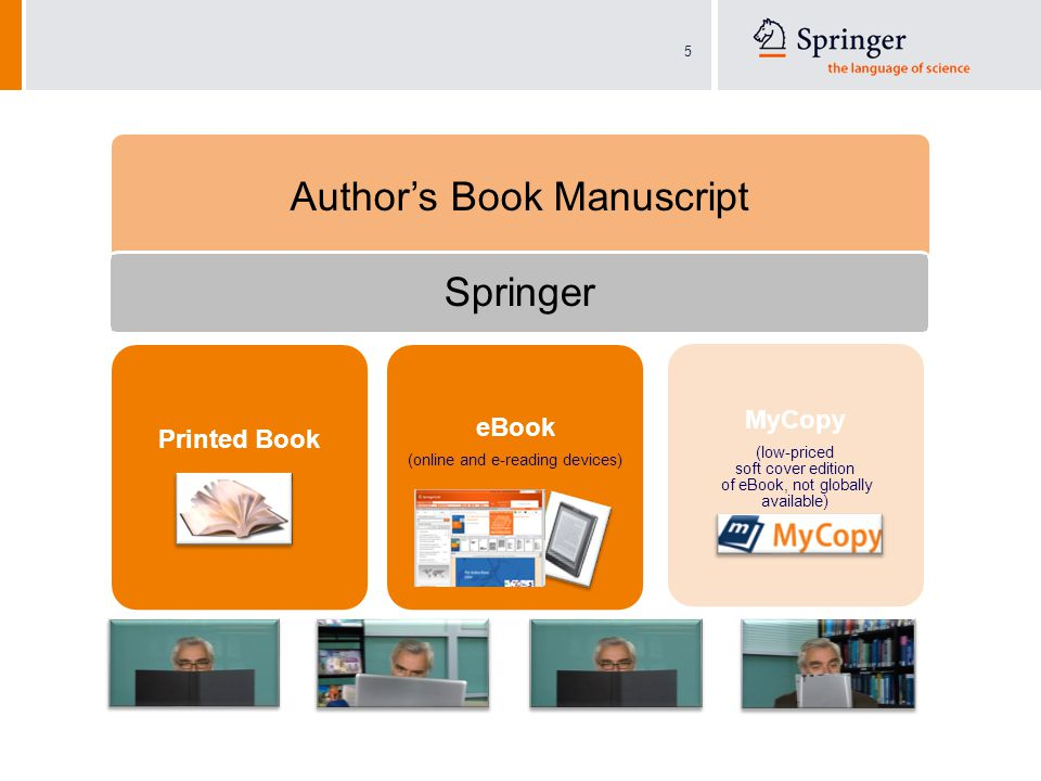5 Author's Book Manuscript Printed Book eBook (online and e-reading devices) MyCopy (low-priced soft cover edition of eBook, not globally available) Springer