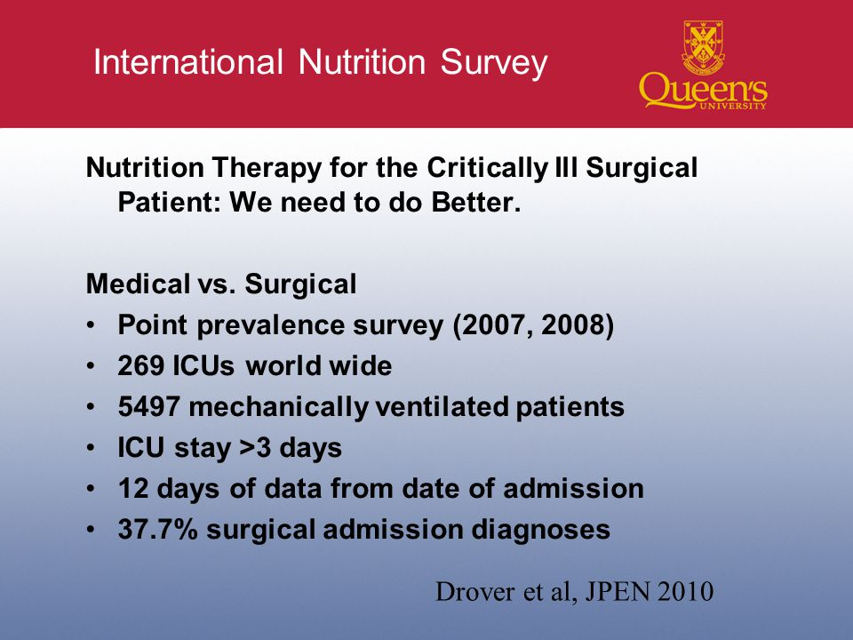 International Nutrition Survey Nutrition Therapy for the Critically Ill Surgical Patient: We need to do Better.