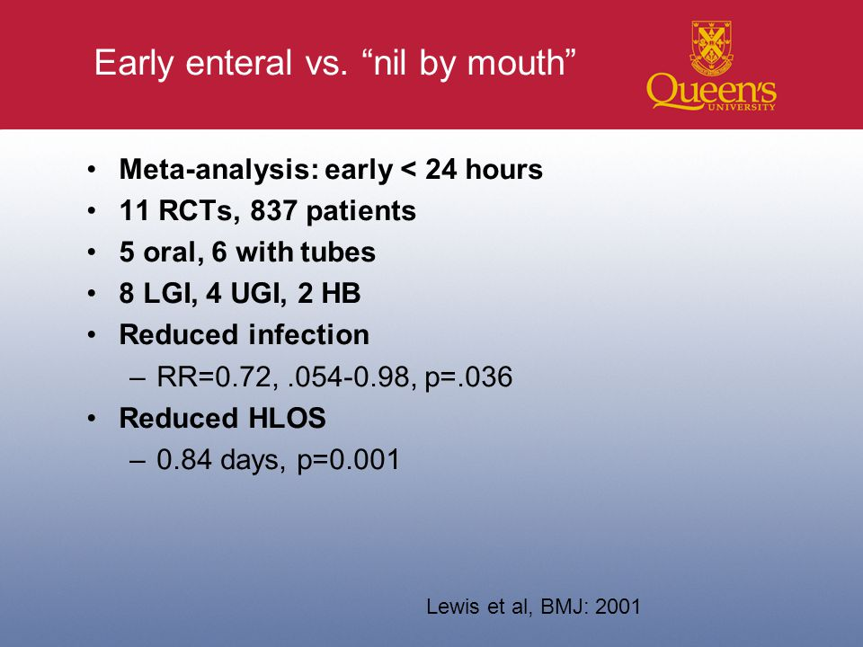 Early enteral vs.