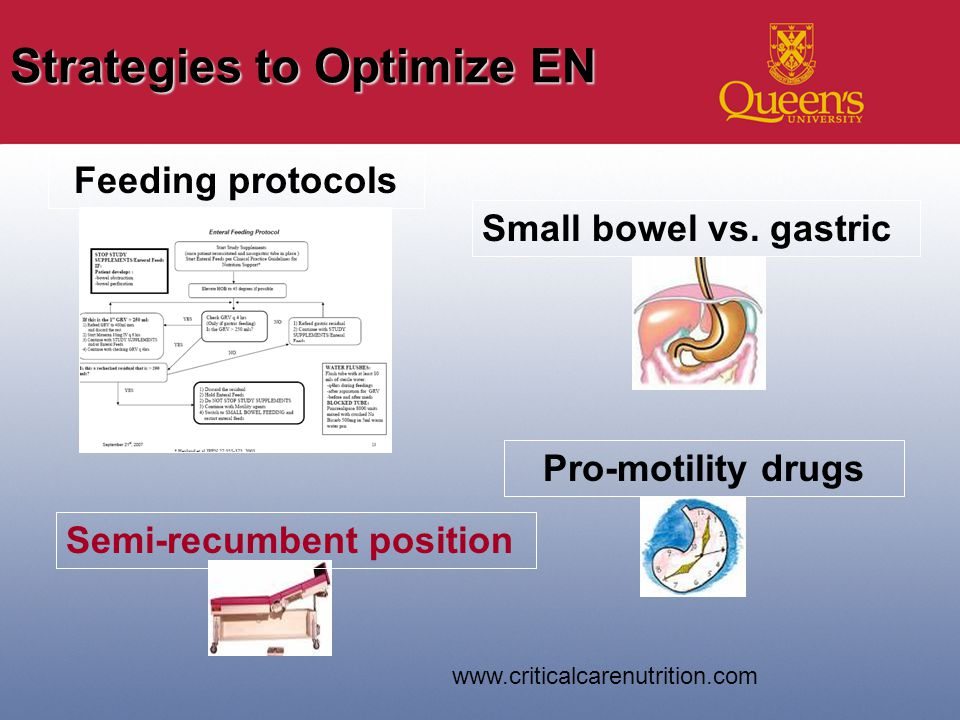 Strategies to Optimize EN Small bowel vs.
