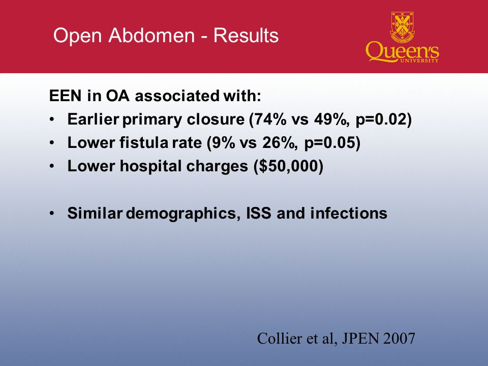 Open Abdomen - Results EEN in OA associated with: Earlier primary closure (74% vs 49%, p=0.02) Lower fistula rate (9% vs 26%, p=0.05) Lower hospital charges ($50,000) Similar demographics, ISS and infections Collier et al, JPEN 2007