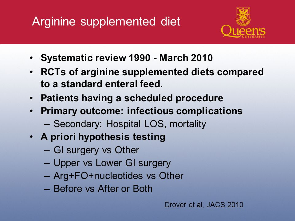 Arginine supplemented diet Systematic review 1990 - March 2010 RCTs of arginine supplemented diets compared to a standard enteral feed.