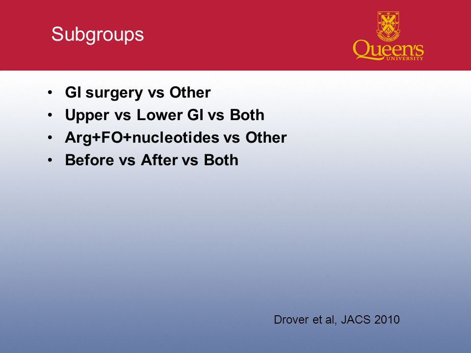 Subgroups GI surgery vs Other Upper vs Lower GI vs Both Arg+FO+nucleotides vs Other Before vs After vs Both Drover et al, JACS 2010