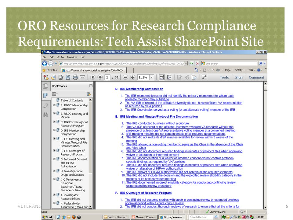 VETERANS HEALTH ADMINISTRATION ORO Resources for Research Compliance Requirements: Tech Assist SharePoint Site 6