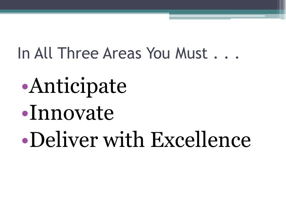 In All Three Areas You Must... Anticipate Innovate Deliver with Excellence