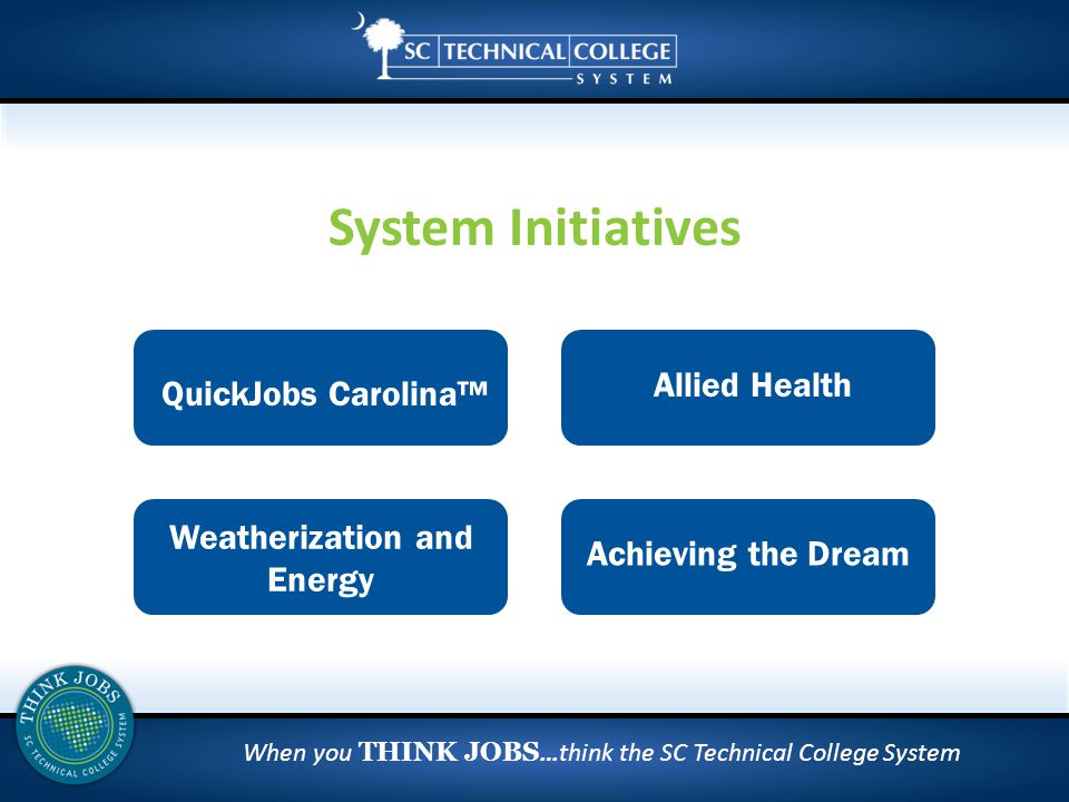 When you THINK JOBS …think the SC Technical College System System Initiatives Weatherization and Energy QuickJobs Carolina™ Allied Health Achieving the Dream