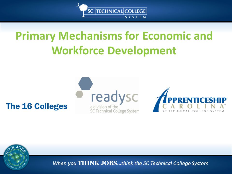 When you THINK JOBS …think the SC Technical College System The 16 Colleges Primary Mechanisms for Economic and Workforce Development