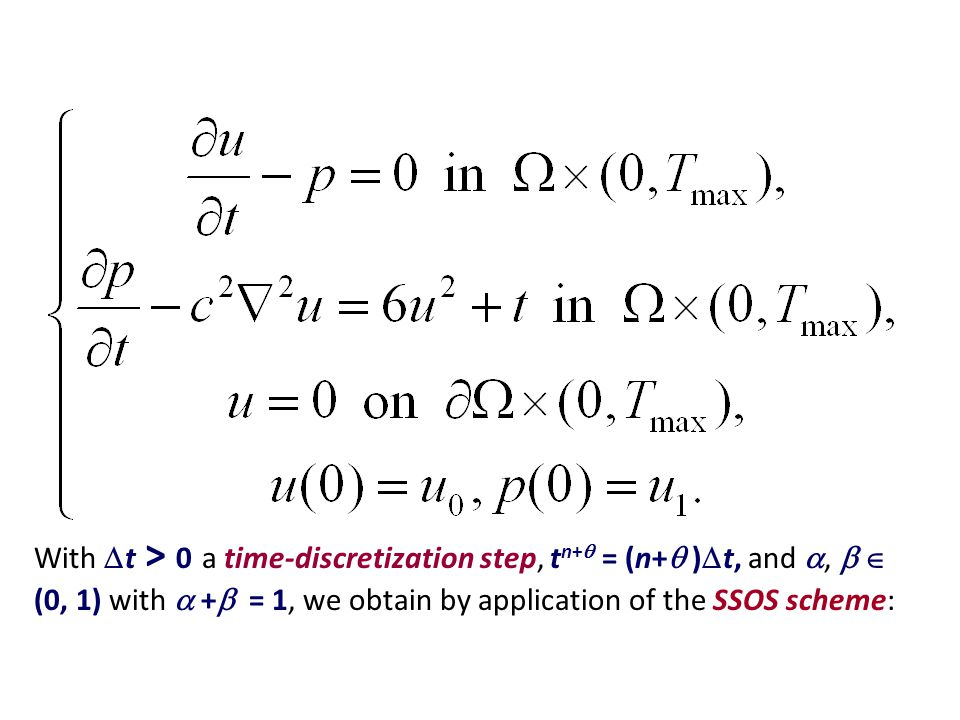 With  t > 0 a time-discretization step, t n+  = (n+  )  t, and ,   (0, 1) with  +  = 1, we obtain by application of the SSOS scheme: