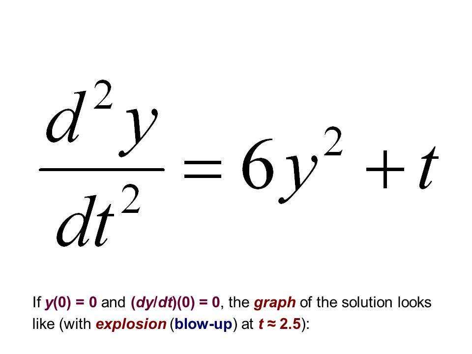 If y(0) = 0 and (dy/dt)(0) = 0, the graph of the solution looks like (with explosion (blow-up) at t ≈ 2.5):